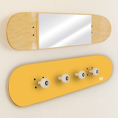 Teenage boys bedroom for the skate board enthusiast - Skateboard Coat Rack and mirror yellow by SKATE-HOME