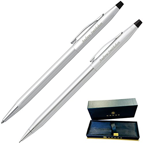 Dayspring Pens - Engraved / Personalized Cross Classic Century Pen & Pencil Gift Set - Lustrous Chrome. Custom Engraved Fast! (Engraved Pen Pencil Sets)