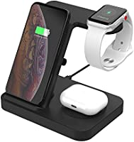 SIKAI ワイヤレス充電器 For iphone / apple watch 5 (OS6) / airpods pro 充電 スタンド アップルウォッチ 充電器 3in1 ワイヤレスCompatible with iPhone 11 /...