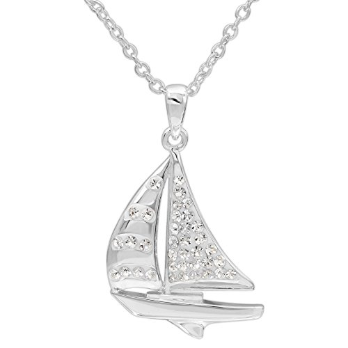 "Crystalogy Women's Jewelry, Silver Plated White Crystal Sailboat Pendant Necklace, 18"" Chain"