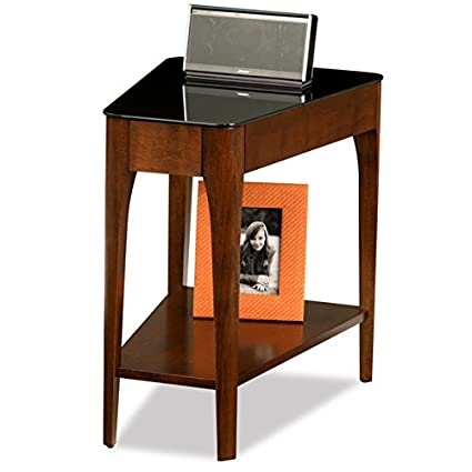 Superbe Amazon.com: Accent Table Chestnut Finish Wood Recliner Wedge Side Table  With Black Glass Top   17 In Wide X 24 In Long X 24 In High: Kitchen U0026  Dining