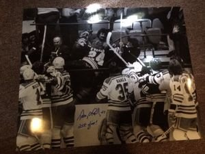 Fine Photograph (Terry O'Reilly Autographed 16x20 Photo Fighting In The Stands 25K Fine Ins)