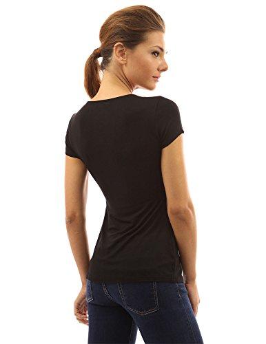 Noir manches aux V femmes blouse col courtes avec fronc PattyBoutik devant qOvAUwxaa