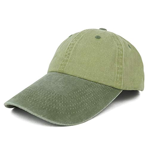 Armycrew 4 Inch Long Bill Pigment Dyed Washed Cotton Baseball Cap - Khaki Green ()
