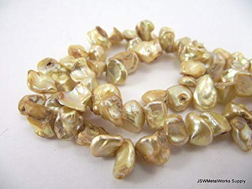 Design Ideas - 7mm - 11mm Gold Cultured Freshwater Petal Pearl Strand, 7 x 4 mm - 11 x 7 mm Last ONE - Unique Selection ()
