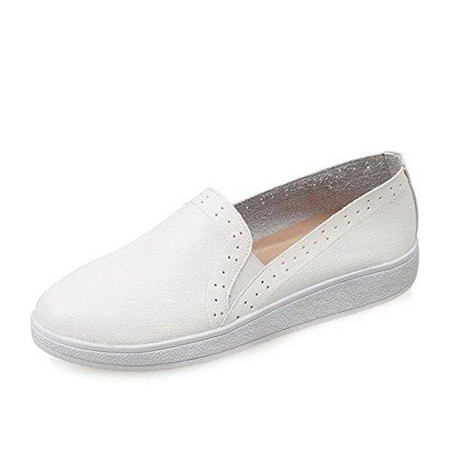 Allhqfashion Dames Ronde Dichte Neus Lage Hakken Pull On Solid Pumps-schoenen Wit