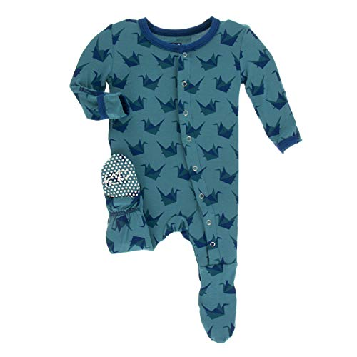 Kickee Pants Little Boys Print Footie Snaps - Seagrass Origami Crane, 18-24 Months