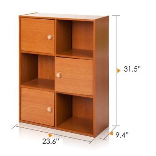 Furinno 11189LC Pasir 3-Tier Shelf with 3 Door/Round Handle, Light Cherry