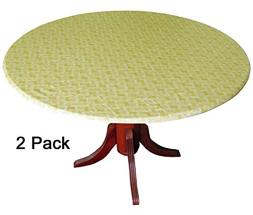 Basketweave Patio - WeavePrint 2 Pack - Basketweave Gold Fitted Tablecloths, Tablecovers, Table Covers in Neutral Shades That Blend with Any Decor