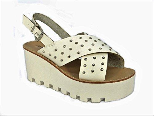 Sandalias de verano con suela de plataforma, sandalias cuñas con plataformas White (4072)