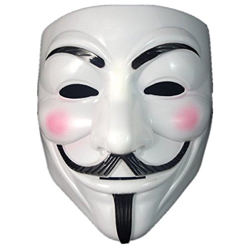 OliaDesign V for Vendetta Mask Guy Fawkes Anonymous fancy Cosplay costume (White)