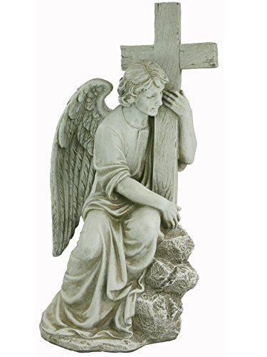 Roman Male Angel Statue w/ Cross (Cemetery Statue)