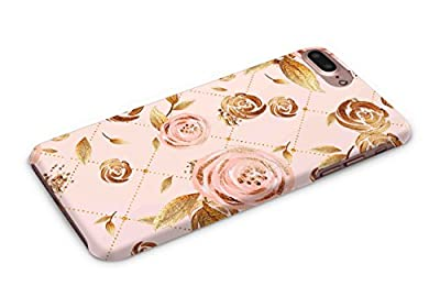 Cover Affair Floral / Flowers Printed Designer Slim Light Weight Back Cover Case for Apple iPhone 7 Plus - 2016 / Apple iPhone 8 Plus - 2017 (Pink & Gold)