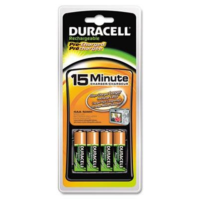 Duracell - Nimh Aa Or Aaa Battery Charger Includes 4 Pre-Charged Rechargeable Aa Batteries Product Category: Breakroom And Janitorial/Batteries & Electrical Supplies