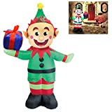 Joiedomi 5 Foot Elf with Present Inflatable LED