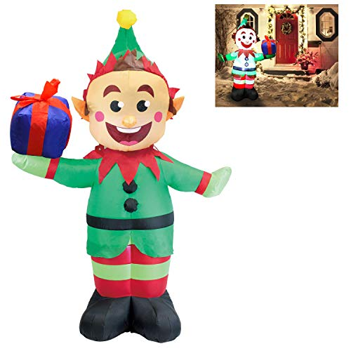 Joiedomi 5 Foot Elf with Present Inflatable LED Light Up Christmas Xmas for Blow Up Yard Decoration, Indoor Outdoor Garden Christmas Decoration ()
