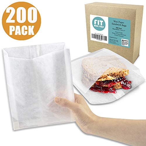 "[200 Pack] Plain 7 x 6 x 1"" Wet Wax Paper Sandwich Bags, Food Grade Grease Resistant, White Glassine Semi Translucent"