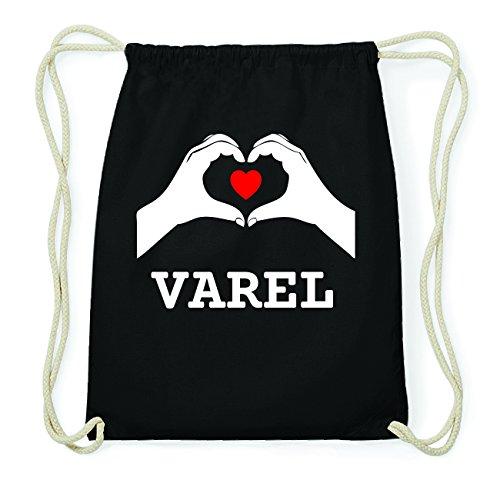 JOllify VAREL Hipster Turnbeutel Tasche Rucksack aus Baumwolle - Farbe: schwarz Design: Hände Herz