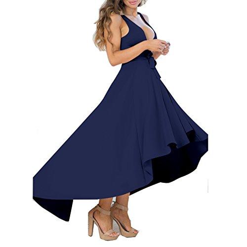 Elegant Party Evening Low Women's Hem V High Blue Dresses DAMAI Sexy Dress Neck YS Cocktail Dark Sleeveless wSzfqnU