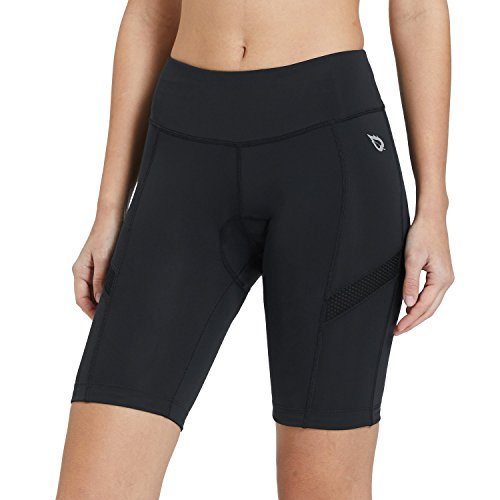 (Baleaf Women's Cycling Shorts Padded High Waist Breathable Mesh Black UPF 50+ Size XL)