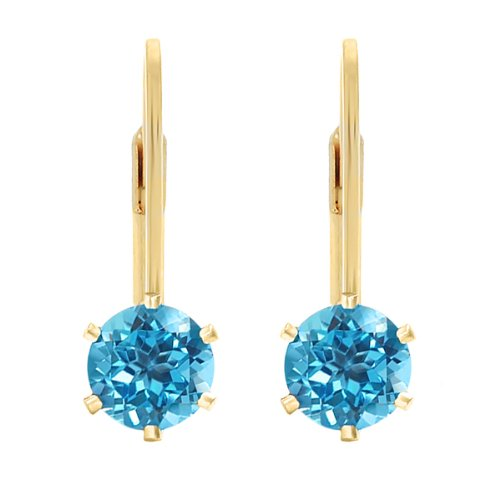 - 2.00 Ct 6mm Round Blue Topaz Gold Plated Leverback Earrings