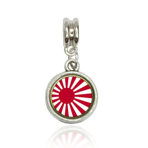 (Made on Terra Flag of Japan Sun Rising Euro European Italian Style Bracelet Bead Charm)