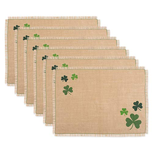 DII CAMZ11152 100% Jute Placemat, Perfect for Parties, St Patrick's Day & Spring Tablecloth, Shamrock ()
