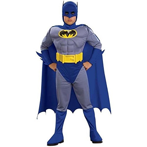 Youth Batman Costumes (Batman Classic Deluxe Boys Child Kids Youth Muscle Chest Costume + Coolie (S))