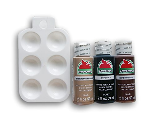 Acrylic Paint Set with Mini Palette - Black, Brown Oxide, Territorial Beige