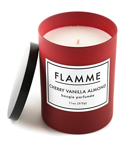 Flamme Candle Company Cherry Vanilla Almond Scented Jar Candle :: 11 Oz, Soy Wax