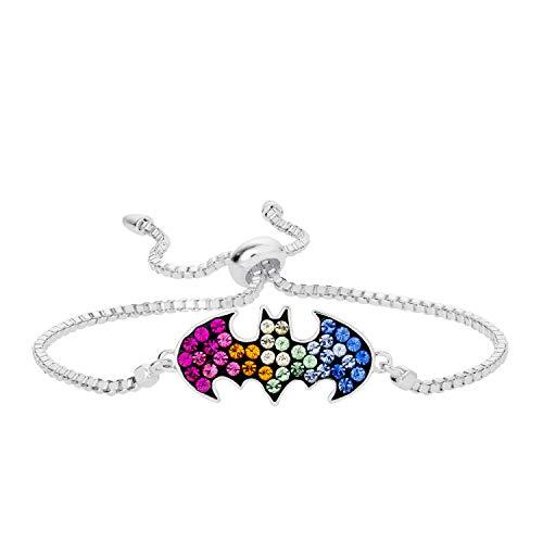 DC Comics Batgirl Jewelry, Silver Plated Rainbow Crystal Logo Lariat Bracelet