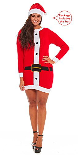 YOU LOOK UGLY TODAY Womens Sweater Tunic Top, Santa With Hat-Small