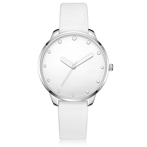 Bezel Silver White Leather (Xinge Women's Simple Casual Watches Leather Strap Silver Tone Bezel Unique Hands XG1063 (white))