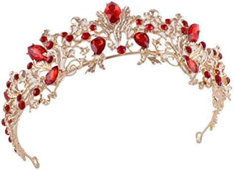 Bruid strass kroon retro kroon decor hoofdkleding kroon tiara haarbeugel voor vrouw dame vrouwelijk rood en goud