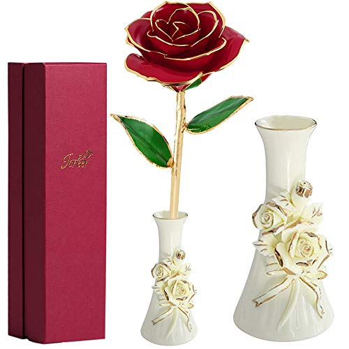 24K Gold Rose Flower,Gold Foil Artificial Forever Rose with Beautiful Porcelain Vase & Gift Box,Best Gift for Her on Valentines Day, Mothers Day, Anniversary, Birthday - Vase Porcelain Rose