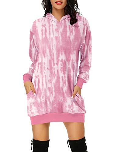 Auxo Dames Hoodies Winter Lange Mouw Los Tie Dye Sweatshirts Herfst Gedrukt Lange Capuchon Tops Elegant