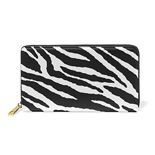 Zebra Print Checkbook Wallet - Animal Skins Zebra Print Leather Large Long Zipper Clutch Women Wallet Phone Passport Checkbook Card Holder