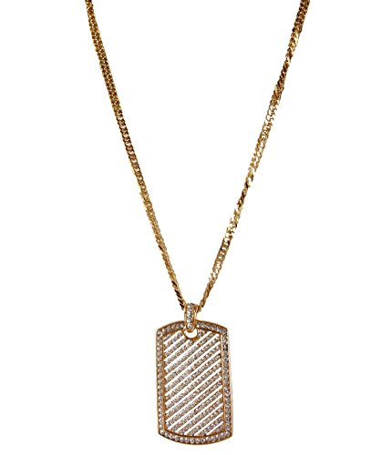 - J.Shine Iced Out Hip Hop Crystal Mini Dog Tag Gold Tone Stainless Steel Necklace & Chain 28