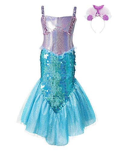 Little Mermaid Costume Dress Princess Ariel Sequin Girls Cosplay Party Outfit (Dress+Purple Headband, 6-7 Years) ()