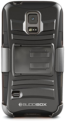 Galaxy S5 Mini Case, BUDDIBOX [HSeries] Heavy Duty Swivel Belt Clip Holster with Kickstand Maximal Protection Case for Samsung Galaxy S5 Mini, (Black)