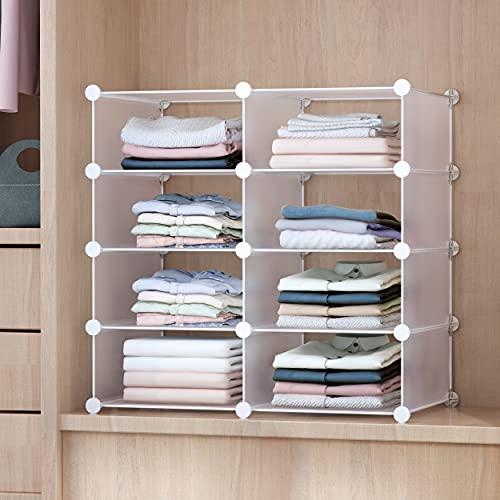 GuanJun Storage Shelf Dividers,Closet Shelf Organizer Divider and Separator for Storage and Organization (White, 2 Column 4 Layers)