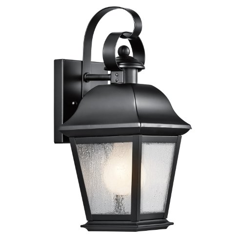Kichler Lighting 9707BK Mount Vernon 1-Light 13-Inch Outdoor Wall Lantern, Black Finish with Clear Seedy (Kichler Incandescent Candle)