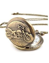OYang Unisex Antique Case Vintage Brass Rib Chain Quartz Pocket Watch Motorcycle