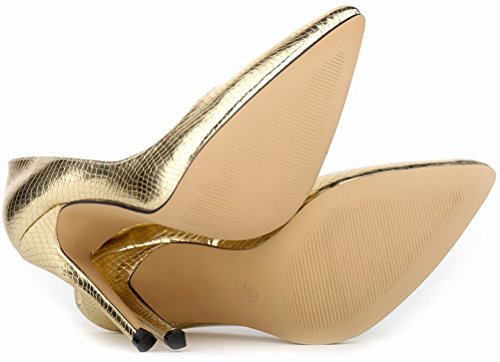 Superhigh Stiletto Salabobo All Toe Womens Match Pointed Pumps Wedding Sexy Work Gold PU wxqxHUX