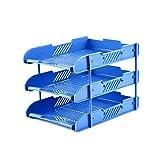 LCSHAN Desktop File Cabinet Creative Multi-Layer Folder Simple Office Supplies File Holder Three-Tier (Color : Blue)