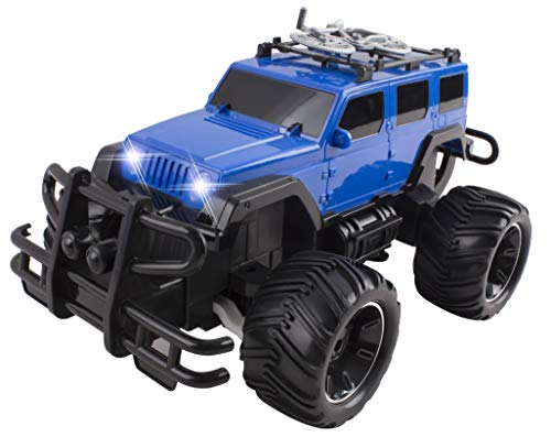 RC Truck Jeep Big Wheel Monster Remote Control Car with LED Headlights Ready to Run Includes Rechargeable Battery 1:16 Size Off-Road Beast Buggy Toy