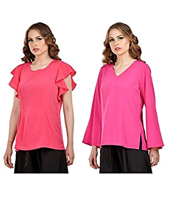 d00ac040f Karmic Fashion Women s Pink Crepe Stylish Tops Combo Pack of 2 ...