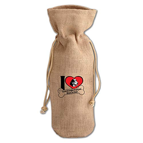 Love Grand Francais Blanc Noir Dog #2 Jute Burlap Wine Drawstring ()