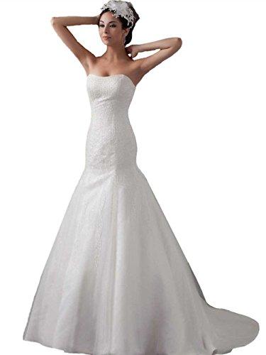 Pronovias Bridal Dresses - Angel Formal Dresses Women's Strapless Mermaid Beading Wedding Dresses for Brides(18,white)