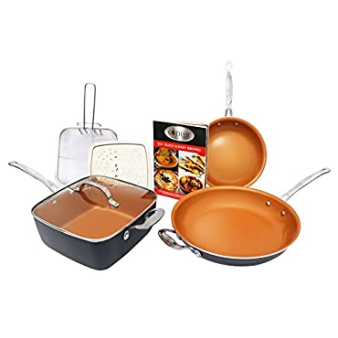Gotham Steel Tastic Bundle 7 Piece Cookware Set Titanium Ceramic Pan, Copper